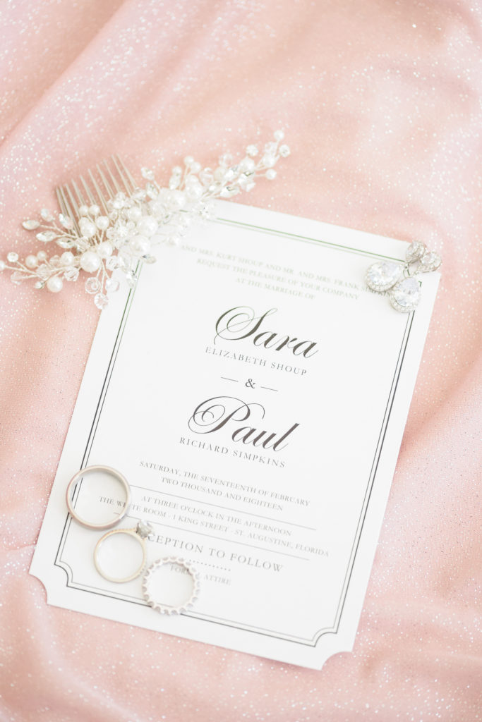 St Augustine Wedding Venues Ring and Invite