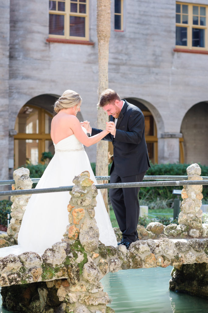 St Augustine Wedding Venue Bride and Groom First Look