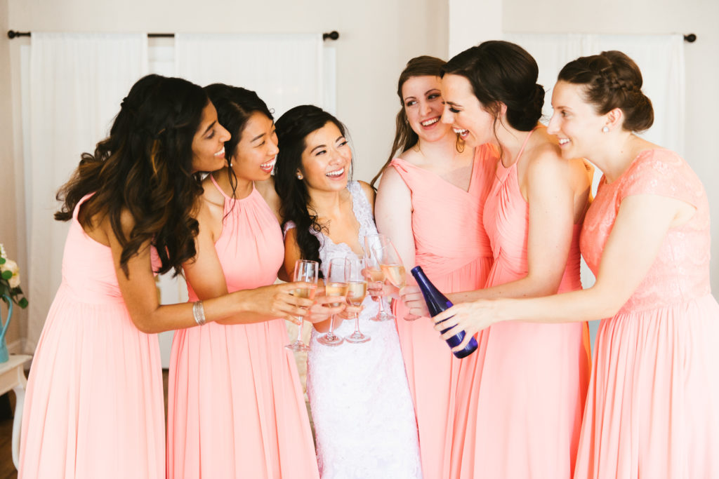St. Augustine Wedding Bride and Bridesmaids toast