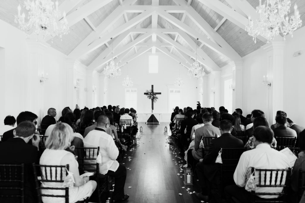 St. Augustine Wedding Ceremony in the Villa Blanca Black and White