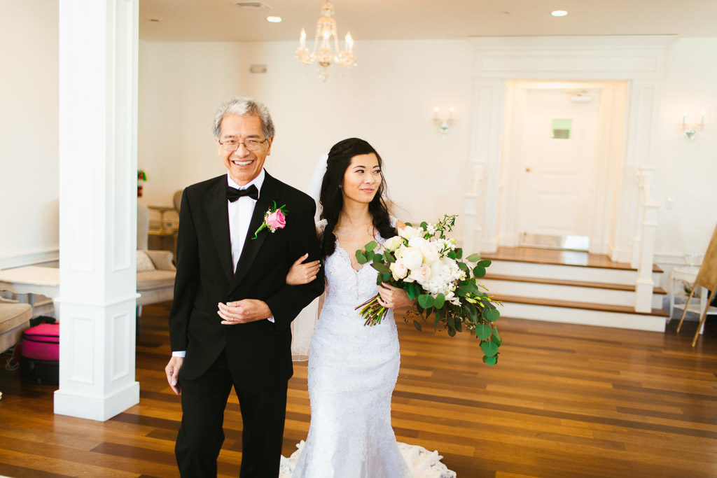 St. Augustine Wedding Bride and Father down the aisle