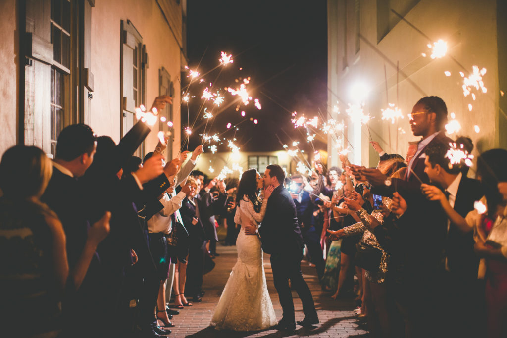 St. Augustine Wedding Bride and Groom Sparkler Grand Exit Kiss