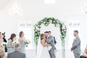 St Augustine Florida Wedding Ceremony Villa Blanca Altar Kiss