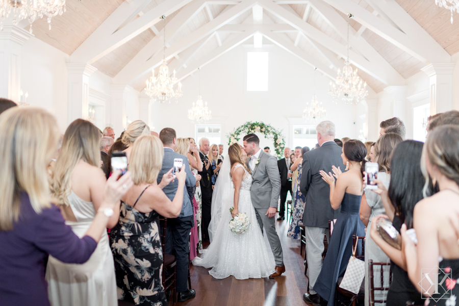 St Augustine Florida Wedding Ceremony Villa Blanca Aisle Kiss