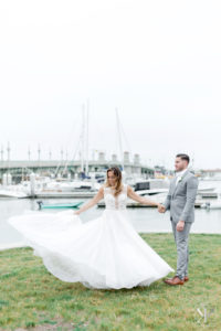 St Augustine Florida Wedding Bride and Groom Bayfront Spin