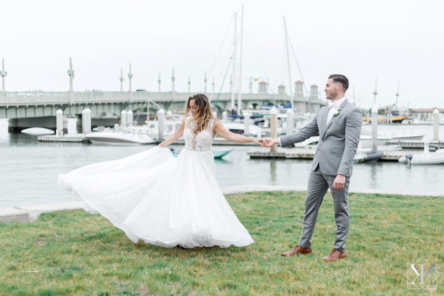 St Augustine Florida Wedding Bride and Groom Bayfront Spin 2