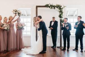 bride-groom-first-kiss-wedding-ceremony-florida