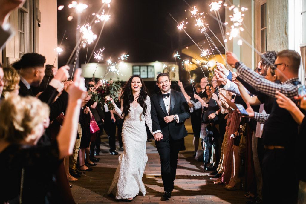 St. Augustine Wedding Bride and Groom Sparkler Grand Exit