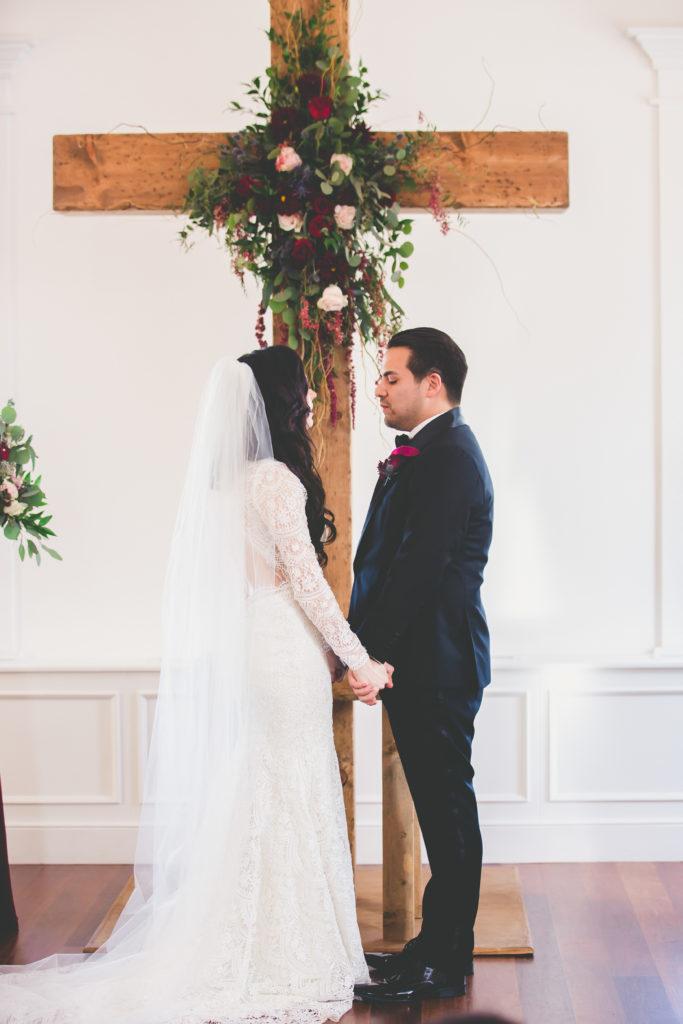St. Augustine Wedding Bride and Groom at Altar