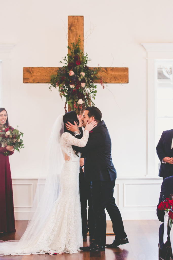 St. Augustine Wedding Bride and Groom at Altar Kiss