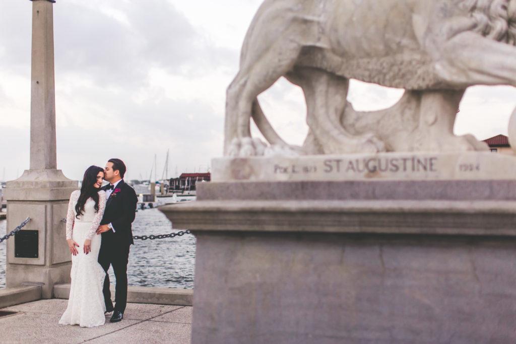 St. Augustine Wedding Bridge of Lions Bride and Groom