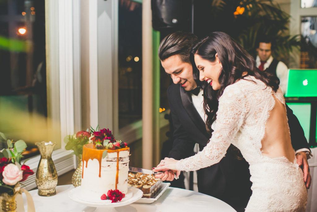 St. Augustine Bride and Groom Cut Cake