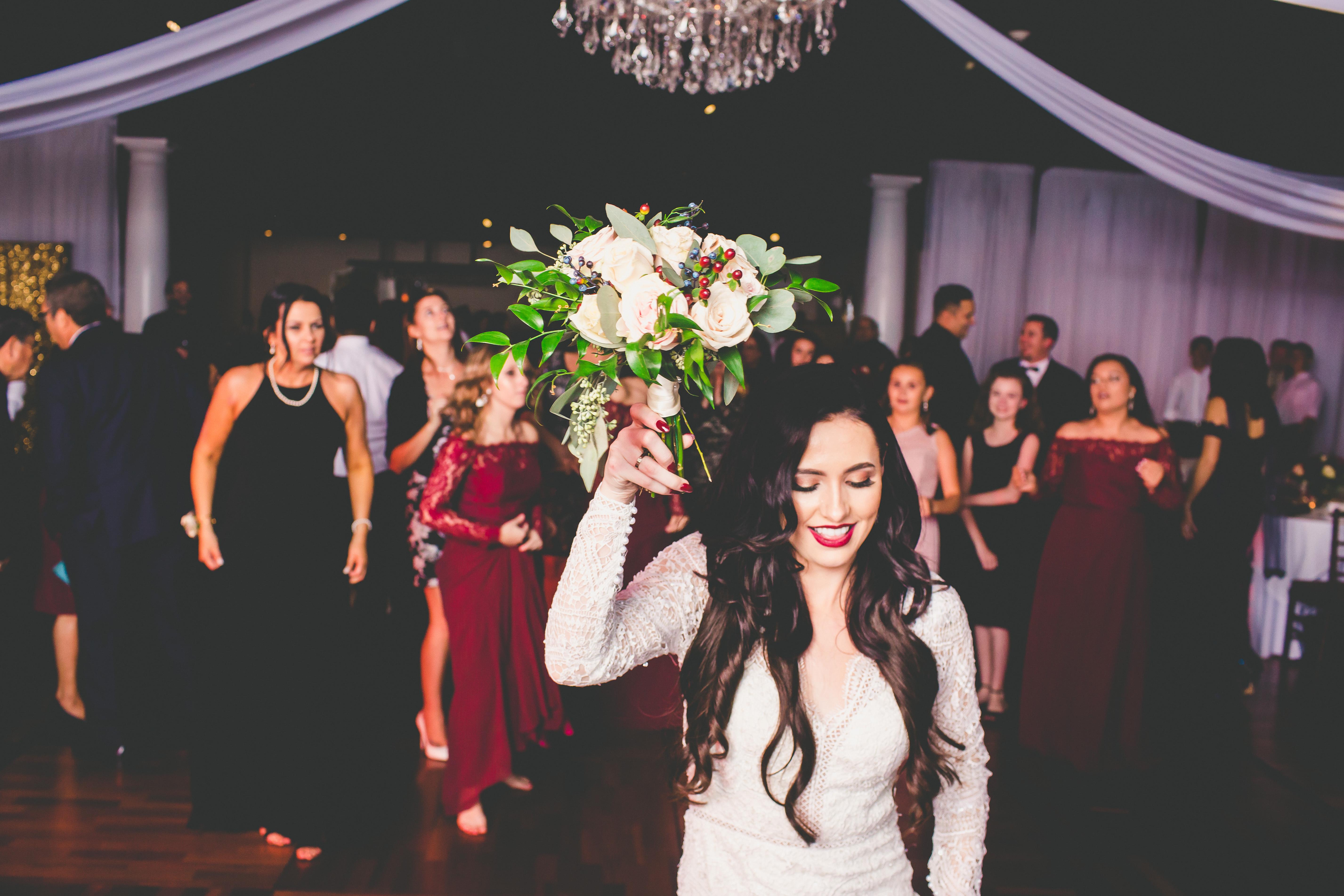 St. Augustine Wedding Bride Bouquet Toss