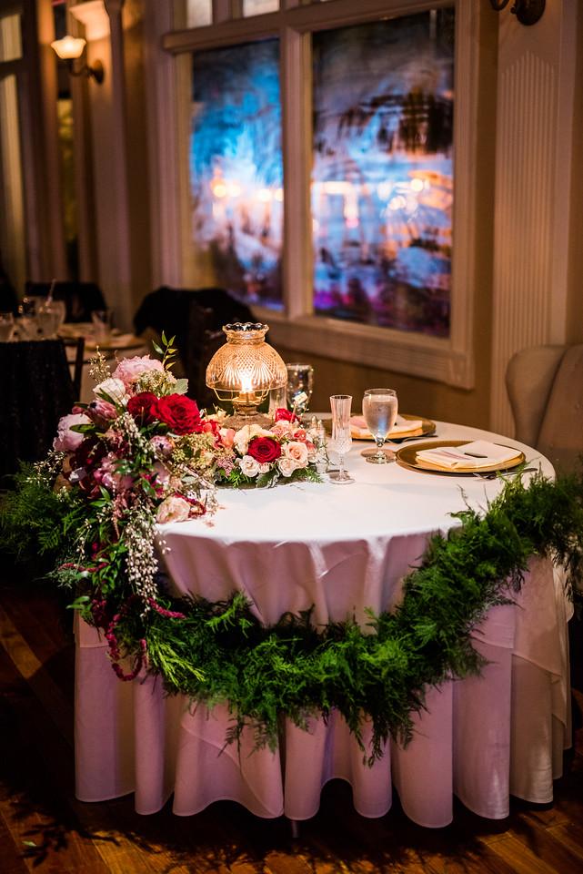 St. Augustine Winter Wedding Ballroom Sweetheart Table